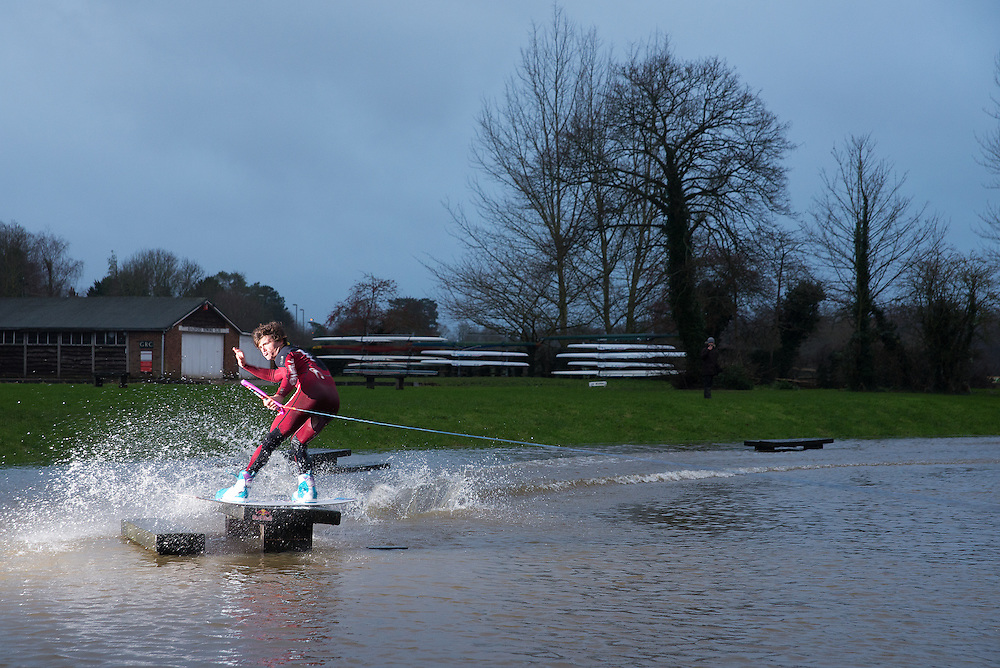 Location: Guildford, Shalford Park, on submerged park bench. Wakeboarder: Jorge Gill, 18 years old, from  London.
