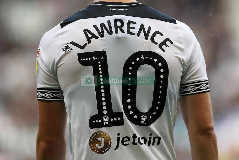 Close up of Derby County's Tom Lawrence with the Mind Charity branding