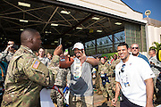 January 27 2016: Seattle Seahawks Russell Wilson has some fun with soldiers during the Pro Bowl Draft at Wheeler Army Base on Oahu, HI. (Photo by Aric Becker/Icon Sportswire)