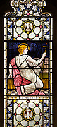 Stained glass window detail depicting Faith  designed by Henry Holiday 1880s, Campsea Ash church, Suffolk, England, UK