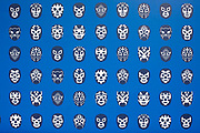 Detail shot of Lucho Libro Mexican / Latin American wrestling masks, printed in black on a blue background. Bogota, Colombia.
