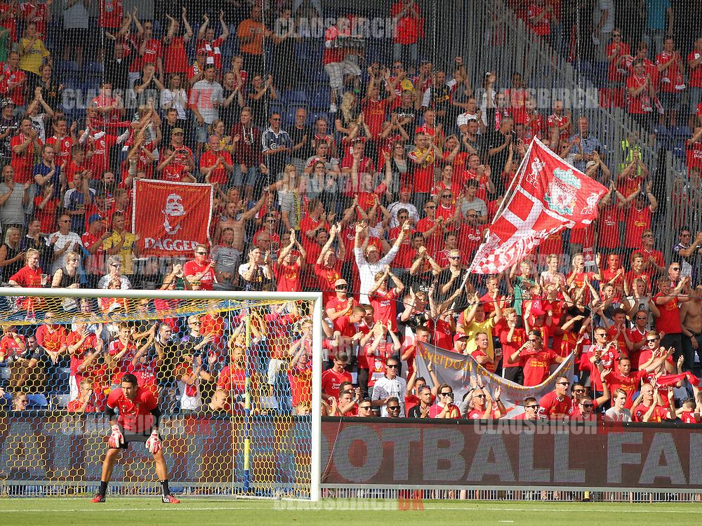 FODBOLD: Liverpool fans før træningskampen mellem Brøndby IF og Liverpool FC den 16. juli 2014 på Brøndby Stadion. Foto: Claus Birch