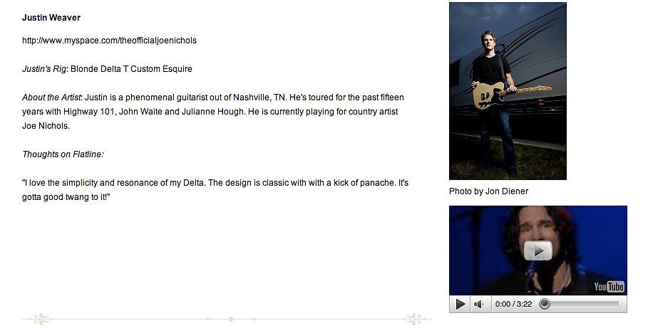 Justin Weaver photo on Flatline Guitars website.