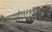 Telpherage: Sussex Cement Company's wire rope railway at  Glynde, Sussex, England, 1885.