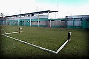 Nederland, Wageningen, 13-1-2005  Het voormalige stadion van de legendarische voetbalclub FC Wageningen, ooit een trotse erediviesie club . Het oude ongebruikte stadion is inzet van een strijd tussen vrienden van het stadion, die het willen behouden, en natuurliefhebbers die het weg willen hebben . Vervallen maar niet gesloopt, afgebroken, vanwege de ligging in een beschermd natuurgebied, de Wageningse Berg . In 1992 werd hier de laatste prof wedstrijd gespeeld . Foto: Flip Franssen