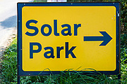 The Solar Park sign outside Braydon Manor Farm site where Solarcentury started building Wiltshire Wildlife Community Energy's (WWCE) 5MWp community-owned solar farm. Over 18,000 solar panels will be installed across 18 acres and the solar system will generate enough energy to power over 1,400 homes and save 2,500 tonnes of carbon a year