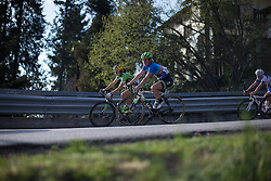 Floortje Mackaaij (Liv-Plantur Cycling Team) descends in the second, short lap of Trofeo Alfredo Binda - a 123.3km road race from Gavirate to Cittiglio on March 20, 2016 in Varese, Italy.