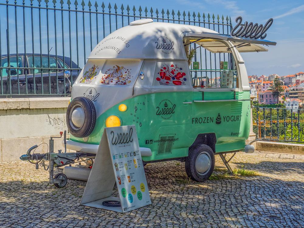 A frozen yogurt shop on wheels in Lisbon,Portugal.