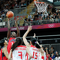 05 August 2012: USA Tina Charles goes for the skyhook during 114-66 Team USA victory over Team China, during the women's basketball preliminary, at the Basketball Arena, in London, Great Britain.