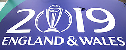 ICC Cricket World signage damaged after a six hit by India's Ravindra Jadeja during the ICC Cricket World Cup Warm up match at The Oval, London.