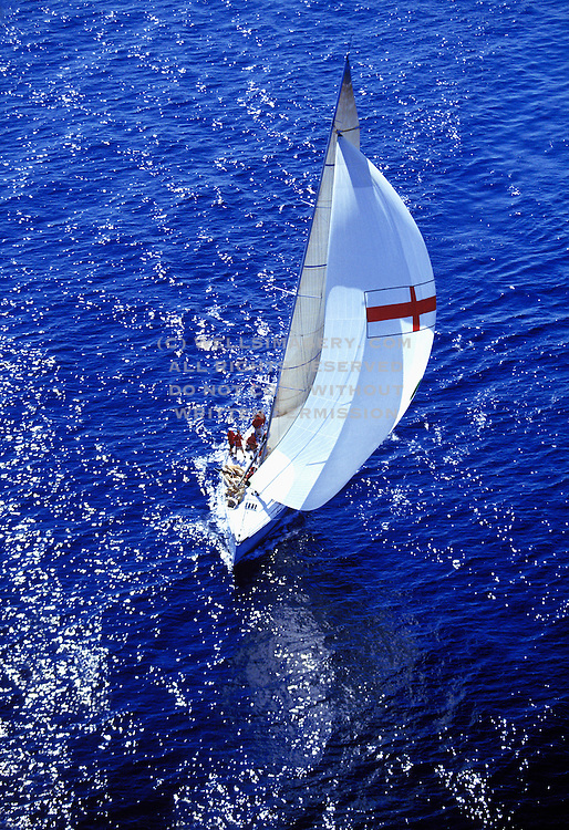 Aerial image of a sailboat off the coast of Fort Lauderdale, Florida, American Southeast, model and property releases may be available upon request, by Randy Wells