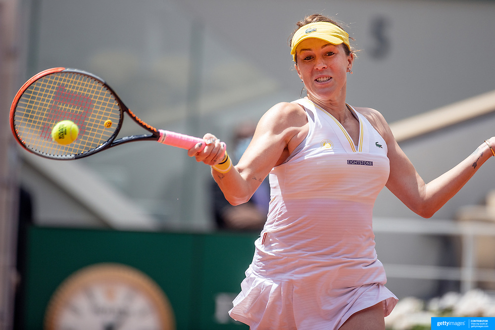 PARIS, FRANCE June 6.  Anastasia Pavlyuchenkova of Russia in action against Victoria Azarenka of Belarus on Court Philippe-Chatrier during the fourth round of the singles competition at the 2021 French Open Tennis Tournament at Roland Garros on June 6th 2021 in Paris, France. (Photo by Tim Clayton/Corbis via Getty Images)