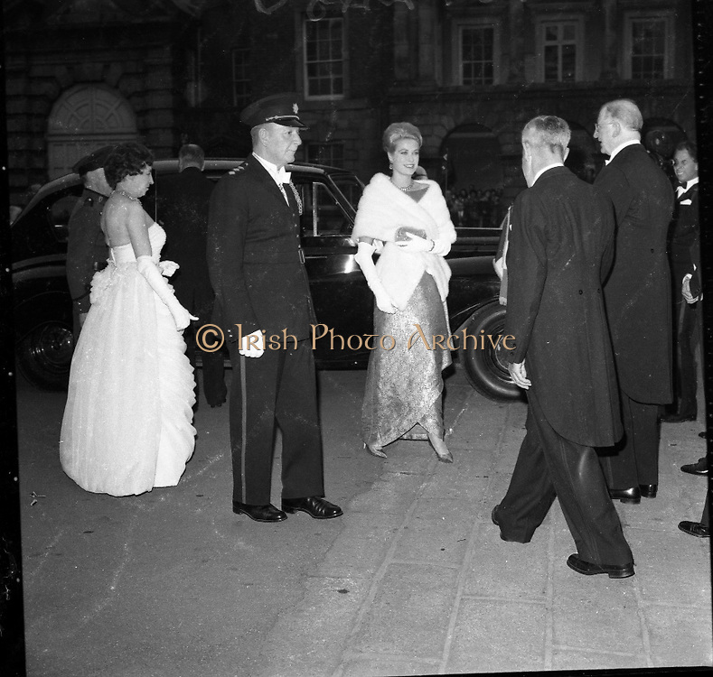 Princess Grace and Prince Rainier of Monaco attend a State Reception at Dublin Castle, the last public engagement of their Irish trip..13.06.1961