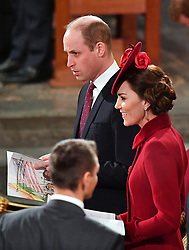 The Duke and Duchess of Cambridge, during the Commonwealth Service at Westminster Abbey, London on Commonwealth Day.