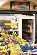 Traditional Corfiot Greek produce shop selling fruit and vegetables in Kerkyra, Corfu Town, , Greece