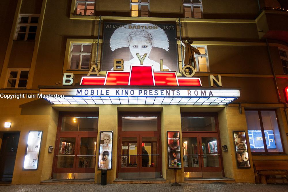 Exterior of Babylon cinema at night in Mitte , Berlin, Germany