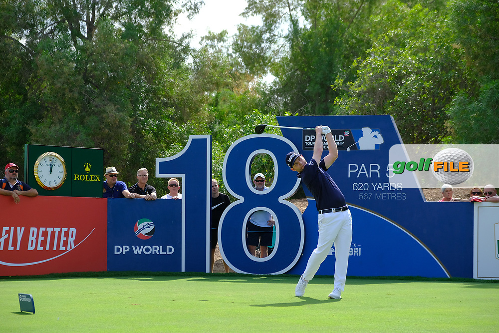 Brandon Grace (RSA) on the 18th tee during the 3rd round of the DP World Tour Championship, Jumeirah Golf Estates, Dubai, United Arab Emirates. 17/11/2018<br /> Picture: Golffile | Fran Caffrey<br /> <br /> <br /> All photo usage must carry mandatory copyright credit (© Golffile | Fran Caffrey)