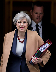 April 26, 2017 - London, London, United Kingdom - Image ©Licensed to i-Images Picture Agency. 26/04/2017. London, United Kingdom. Prime Ministers' Questions,London. Downing Street..Prime Minister,Theresa May,leaves number 10 Downing street for Prime Ministers' Questions at the House of Commons. Picture by Mark Thomas / i-Images (Credit Image: © Mark Thomas/i-Images via ZUMA Press)
