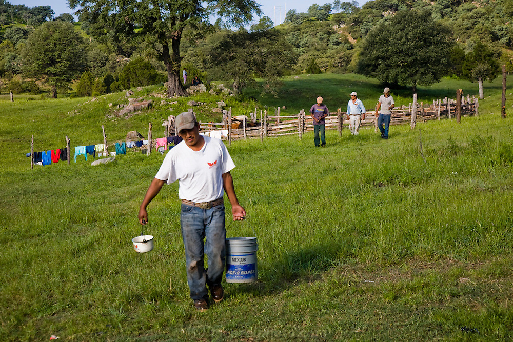 Jose Angel Galaviz Carrillo carries a bucket of milk after milking cows at a corral at his home in Maycoba, Sonora, Mexico. Milking is a chore that rotates among extended family members. (Jose Angel Galaviz Carrillo is featured in the book What I Eat: Around the World in 80 Diets.) MODEL RELEASED.