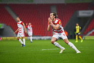 John Marquis of Doncaster Rovers (9) sees a foul given against him during the EFL Sky Bet League 1 match between Doncaster Rovers and Scunthorpe United at the Keepmoat Stadium, Doncaster, England on 15 December 2018.