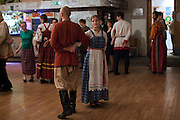 Moscow, Russia, 27/04/2011..Russian folk dance ensemble Tuda Suda [Here & There] demonstrate traditional folk dances from the Smolensk region and teach DOM visitors the dance steps.