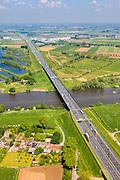 Nederland, Gelderland - Noord-Brabant, Oud-Empel, 27-05-2013; Maasbrug bij Empel. Brug over de Maas in de A2 richting Den Bosch.<br /> Bridge across river Maas. motorway A2, near Den Bosch.<br /> luchtfoto (toeslag op standard tarieven)<br /> aerial photo (additional fee required)<br /> copyright foto/photo Siebe Swart