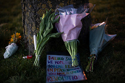 © Licensed to London News Pictures. 13/03/2021. London, UK. Flowers and notes placed at a vigil for Sarah Everards on Blackheath Common in South East London. Vigils are being held across the country following her death. Serving police officer Wayne Couzens has been charged with kidnap and murder.  Photo credit: George Cracknell Wright/LNP