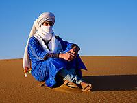 MERZOUGA, MOROCCO - CIRCA MAY 2018: Portrait of Berber of the Sahara Desert