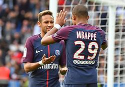 Paris Saint-Germain's Neymar and Kylian Mbappé celebrate during the French Ligue 1 Paris Saint-Germain (PSG) vs Bordeaux football match at the Parc des Princes stadium in Paris, France, on September 30, 2017. PSG won 6-2. Photo by Christian Liewig/ABACAPRESS.COM