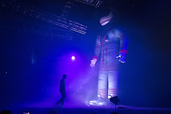 February 4, 2019 - San Diego, California, U.S - Rapper Travis Scott walks next to an inflatable astronaut as he performs during his Astroworld: Wish You Were Here Tour at the Pechenga Arena in San Diego. (Credit Image: © KC Alfred/ZUMA Wire)