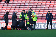 Gareth Ainsworth  of Wycombe Wanderers (Manager) on the pitch after a lengthy stoppage due to a nasty injury to Luke Bolton of Wycombe Wanderers (17) during the EFL Sky Bet League 1 match between Barnsley and Wycombe Wanderers at Oakwell, Barnsley, England on 16 February 2019.