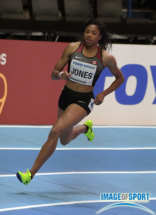 Mar 2, 2018; Birmingham, United Kingdom; Travia Jones (CAN) places fourth in women's 400m heat in 53.31 during the IAAF World Indoor Championships at Arena Birmingham.