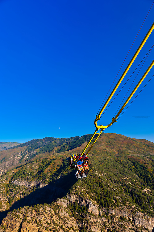Giant Canyon Swing (1,300 feet above the Colorado River), Glenwood Caverns Adventure Park, Glenwood Springs, Colorado USA
