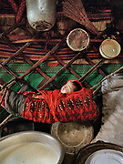 Raised in yak milk: Rani Boi's grand child sleeping in a hamac surrounded by dairy products and pots. Rani Boi is the chief of the last yurt camp in the Little Pamir - the summer camp of Qoqtruq, near the China/Tajikistan border.<br /> <br /> Adventure through the Afghan Pamir mountains, among the Afghan Kyrgyz and into Pakistan's Karakoram mountains. July/August 2005. Afghanistan / Pakistan.