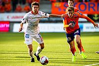 1. divisjon fotball 2018: Aalesund - Levanger (4-0). Aalesunds Jens Petter Hauge (t.h.) og Simen Sandmæl i kampen i 1. divisjon i fotball mellom Aalesund og Levanger på Color Line Stadion.