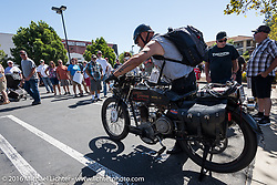 Chopper Dave Monson of California on his 1914 Harley-Davidson as he he gets ready to leave the hosted lunch stop at Temecula Harley-Davidson on the last day of the Motorcycle Cannonball Race of the Century. Stage-15 ride from Palm Desert, CA to Carlsbad, CA. USA. Sunday September 25, 2016. Photography ©2016 Michael Lichter.