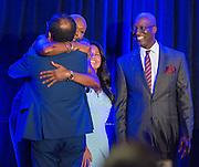 Jolanda Jones and Diana Davila congratulate students during the Scholars banquet, April 12, 2016.
