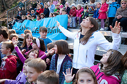 Sara Isakovic, Slovenian swimmer with children of OS Notranje Gorice when her sponsor Zavarovalnica Triglav d.d. decided to rebuild children playground, on March 22, 2012, in Notranje Gorice, Slovenia. (Photo by Vid Ponikvar / Sportida.com)
