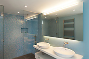 Interior, modern apartment, comfortable bathroom with two sinks