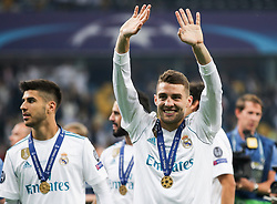 Marco Asensio of Real Madrid and Mateo Kovacic of Real Madrid celebrate after they won 3-1 during the UEFA Champions League final football match between Liverpool and Real Madrid and became Champions League  2018 Champions third time in a row at the Olympic Stadium in Kiev, Ukraine on May 26, 2018.Photo by Andriy Yurchak / Sportida