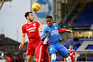 Peterborough Utd midfielder Siriki Dembélé (10) just losing out on this header during the EFL Sky Bet League 1 match between Peterborough United and Scunthorpe United at London Road, Peterborough, England on 1 January 2019.