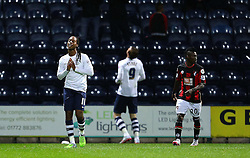 Preston players react after Will Keane misses a chance - Mandatory byline: Matt McNulty/JMP - 07966386802 - 22/09/2015 - FOOTBALL - Deepdale Stadium -Preston,England - Preston North End v Bournemouth - Capital One Cup - Third Round