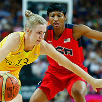 09 August 2012: Australia Rachel Jarry drives past USA Angel McCoughtry during 86-73 Team USA victory over Team Australia, during the women's basketball semi-finals, at the 02 Arena, in London, Great Britain.