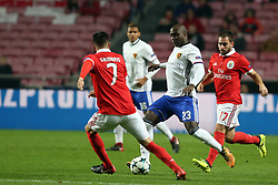December 5, 2017 - Lisbon, Portugal - Basel's defender Eder Balanta from Colombia (C ) vies with Benfica's Greek midfielder Andreas Samaris (L) and Benfica's Serbian midfielder Andrija Zivkovic (R ) during the UEFA Champions League Group A football match between SL Benfica and FC Basel at the Luz stadium in Lisbon, Portugal on December 5, 2017. (Credit Image: © Pedro Fiuza/NurPhoto via ZUMA Press)