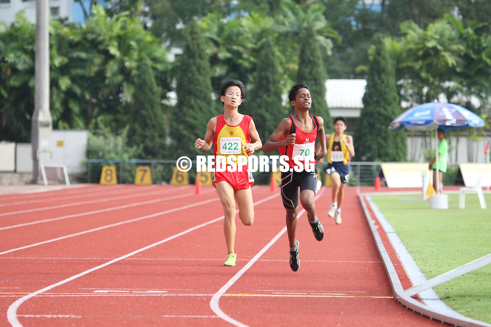Choa Chu Kang Stadium, Monday, April 8, 2013 — Ierhan Muhd Raushan of Singapore Sports School held off the challenge of Hu Hua Xin of Hwa Chong Institution to win the C Division 3,000 metres final at the 54th National Schools Track and Field Championships.<br /> <br /> Story: http://www.redsports.sg/2013/04/12/c-div-3000m-ierhan-sports-school/