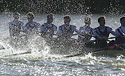 Chiswick, London. <br /> University of London Trail Eights<br /> 14/02/2002<br /> Putney to Mortlake<br /> UL Crew 'Strength' negotiate the rough water at Cornry Reach.        [Mandatory Credit:Peter SPURRIER/Intersport Images]