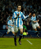 Photo. Jed Wee, Digitalsport<br /> NORWAY ONLY<br /> <br /> Huddersfield Town v Lincoln City, Nationwide League Division Three Playoff Semi-finals Second Leg, 19/05/2004.<br /> Huddersfield's Danny Schofield celebrates after drawing his team level on aggregate from the penalty spot.