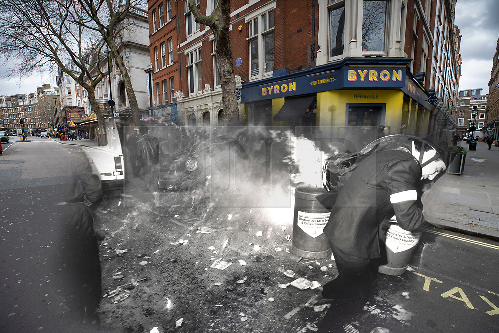 © Licensed to London News Pictures. 25/03/2020. London, UK. In this combined image a police officer reacts as a burning car's fuel tank explodes on Charing Cross Road during the London poll tax riots on March 31st 1990 overlaid on the same location today. The protest on the last day of March in 1990 started peacefully when thousands gathered in a south London park to demonstrate against Margaret Thatcher's Government's introduction of the Community Charge - commonly known as the poll tax. Marchers walked to Whitehall and Trafalgar Square where violence broke out with the trouble spreading up through Charring Cross Road and on to the West End. Police estimated that 200,000 people had joined the protest and 339 were arrested. The hated tax was eventually replaced by the Council Tax under John Major's government in 1992.  Photo credit: Peter Macdiarmid/LNP