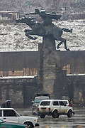 A statue of David Bek, who was an Armenian military commander placed in the city centre of Kapan, Syunik Province in Southern Armenia, appears to be charging towards the direction of Turkey, pictured on Friday, Dec 18, 2020. Kapan is a provincial capital of Syunik Province in southeast Armenia. It is located in the valley of the Voghji River and is on the northern slopes of Mount Khustup. Kapan lays along the disputed borderline with Azerbaijan with whom Armenia's long-standing frozen conflict escalated into a full scare of war for the 3rd time on Sept 27, 2020. (Photo/ Vudi Xhymshiti)