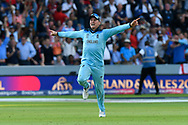 England Are World Champions - Jason Roy of England celebrates as Martin Guptill of New Zealand is run out in the super over and England win the World Cup during the ICC Cricket World Cup 2019 Final match between New Zealand and England at Lord's Cricket Ground, St John's Wood, United Kingdom on 14 July 2019.